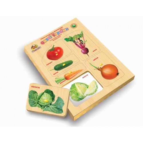 Рамка-вкладыш деревянная по Монтессори 053 Овощи