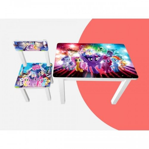 Детский стол и стул для творчества Little Pony Colors 2 вида BSM1-M02/03