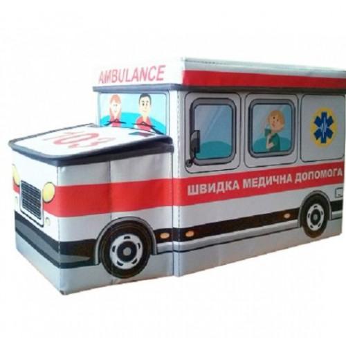 """Детский пуфик """"Автобус"""" Полиция или Скорая помощь 55*26*31 Украинская Оселя"""