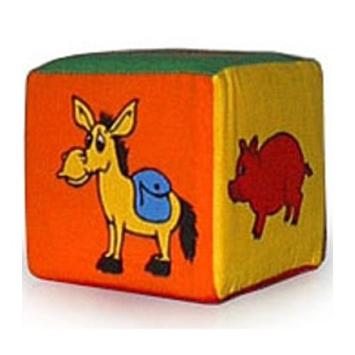 """Кубик мягкий - погремушка """"Животные"""" 123/2 Розумна играшка"""