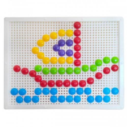 Мозаика с круглыми фишками 120 штук+ доска 30-016
