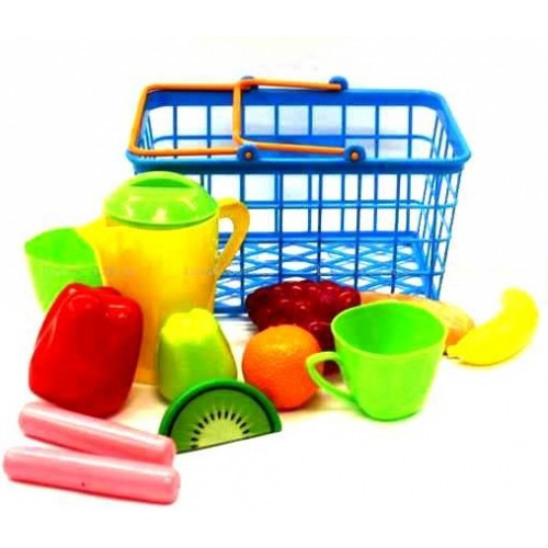 Корзина  с пластиковыми продуктами и посудкой 423 в.2 Орион