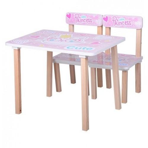 Детский стол и 2 стула для девочки розовый Кошка 501-30 Украина
