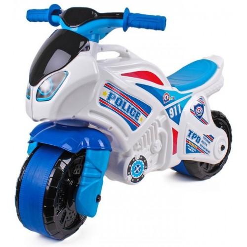 Байк мотоцикл бело-голубой детский каталка большой5125 ТехноК