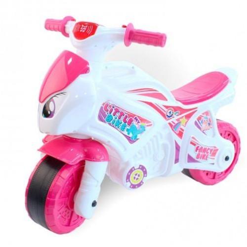 Мотоцикл байк с музыкальными и световыми эффектами бело-розовый 6368 ТехноК