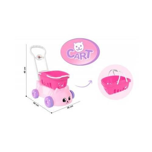 Тележка детская пластиковая розовая Котик 7587 Технок