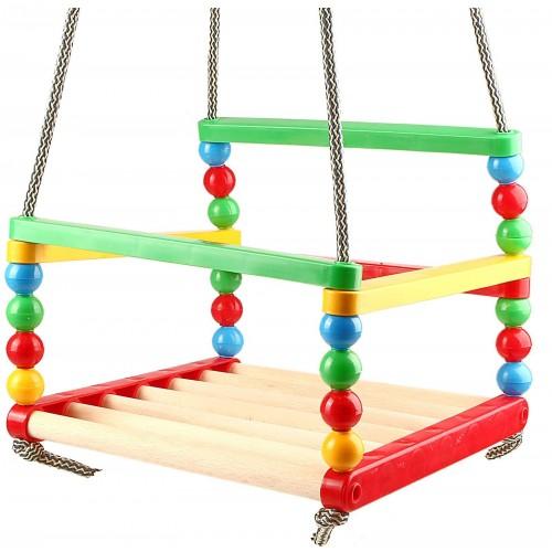 Качели для детей подвесные деревянно-пластиквые 0045 Технок