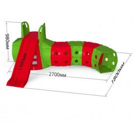 Горка с тоннелем для детей для дома красно-зелёная 01470/3 Долони