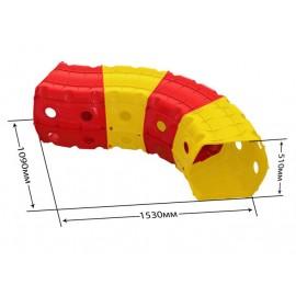 Тоннель игровой пластиковый 4 секции красно-желтый 01471/2 Долони Той