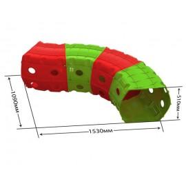 Тоннель игровой пластиковый 4 секции красно-зеленый 01471/3 Долони Тойс