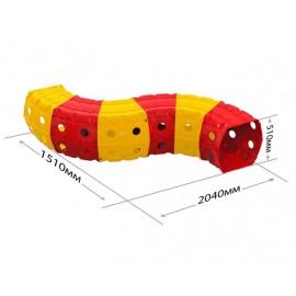 Тоннель игровой пластиковый 6 секций красно-желтый 01472/2 Долони Тойс