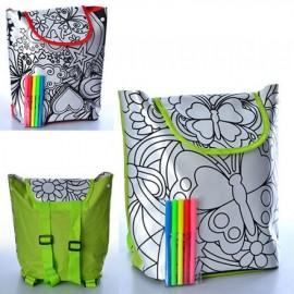 Раскраска рюкзак +фломастеры на липучке застежке 0726