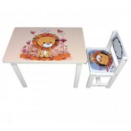 Детский стол и стул для творчества Львенок BSM1-03 lion Украина