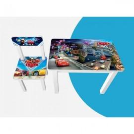 Детский стол и стул для творчества Тачки город BSM1-M05