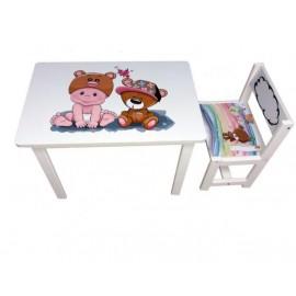 Детский стол и стул для творчества малыш и мишка BSM1-06