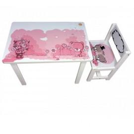 Детский стол и стул для творчества розовый медвежонок Тедди BSM1-08