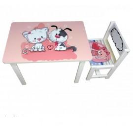 Детский стол и стул для творчества кот и собачка BSM1-10