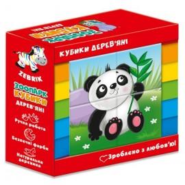 Деревянные кубики Зоопарк ZB1001-02