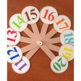 Веер Цифры от 1 до 20 цветные 1115