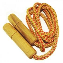 Скакалка детская с деревянными ручками веревочная 2 м 172058
