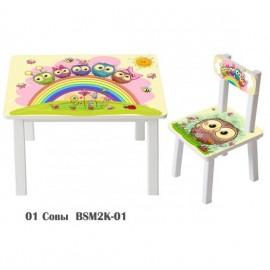 Детский стол и стул для творчества Совушки BSM2K-01owl