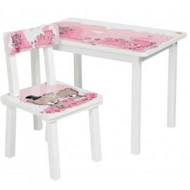 Детский стол и стул для творчества розовый медвежонок Тедди BSM2-08