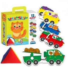 """Пазл-игра """"Звероцепы"""" с мягкой пирамидкой 2906 Vladi Toys"""