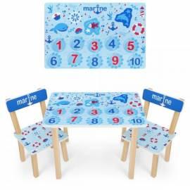 Детский стол и 2 стула голубой с цифрами 501-100