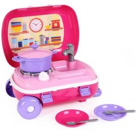 Кухня с набором посуды в чемоданчике на колесах 6061 ТехноК