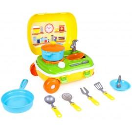Кухня с набором посуды в чемодане на колесах 6078 ТехноК