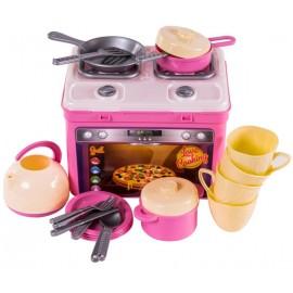 Посудка в чемодане с плитой розовая Адель 816 Орион