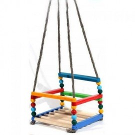 Качели деревянные + пластмасса детские подвесные МГ-011