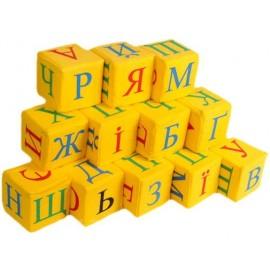 Кубики мягкие тканевые желтые 3 вида Абетка, Азбука или Цифры Розумна іграшка