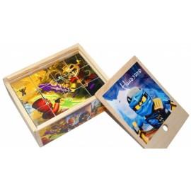 Кубики деревянные 12 штук Ниндзяго