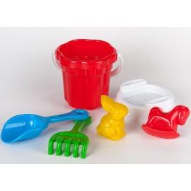 Песочный набор Ромашка с пасочками животные+лопатка и грабли Toys Plast