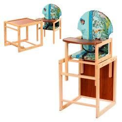 Стульчик для кормления деревянный многофункциональный с большой спинкой Vivast, Харьков 002