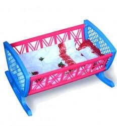 Кроватка для кукол пластмассовая с постелью 006-1 Бамсик