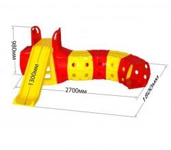 Горка с тоннелем для детей для дома желто-красная 01470/2 Долони