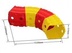 Тоннель игровой пластиковый 4 секции красно-желтый 01471/2 Долони Тойc