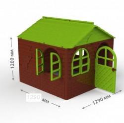 Детский домик средний темно-коричневый с зеленой крышей 02550/4 Долони Тойс
