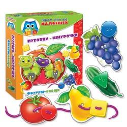 Игра с пуговицами и шнурочками Малышок. Шнуровка+пуговицы. Фрукты-овощи. VT1307-12