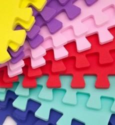 Коврик пазл мягкий разноцветный 10 пазлов Веселка 50-50-1
