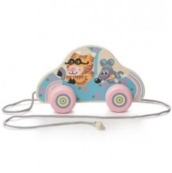 "Машинка каталка деревянная на веревочке ""Кошки-мышки"" LK-5 Кубика, Карпаты"